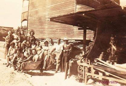Nambour. Staff at T.C. McIntyres Sawmill. South Brisbane. 1940's. Gwen Matthews (L) front row
