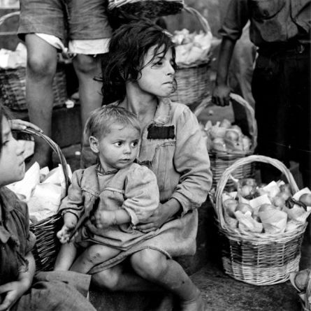 Girl Holding Toddler Italy. Naples 1944 Lt Wayne Miller