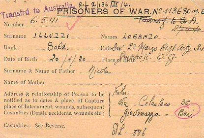 Italian POW Transfer to Australia lluzzi
