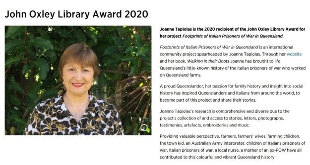 John Oxley Library Award June 2020